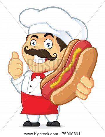 Chef Holding Hot Dog