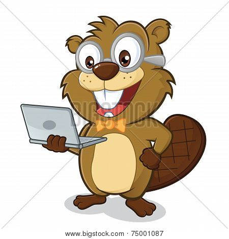 Beaver geek holding laptop