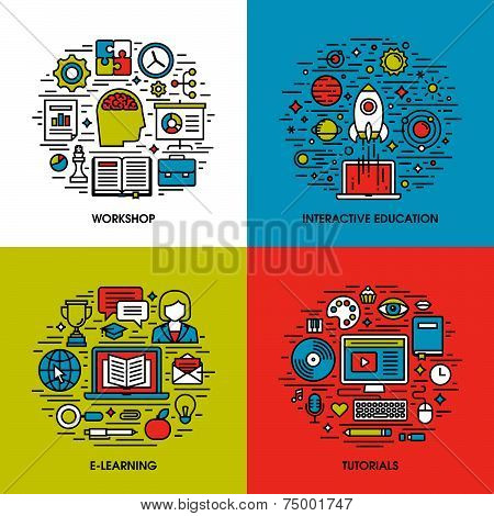 Flat Line Icons Set Of Workshop, Interactive Education, E-learning, Tutorials. Creative Design Eleme