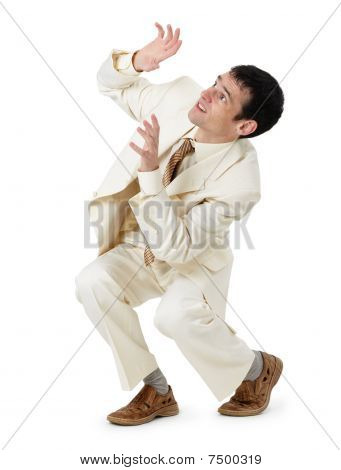 Frightened Young Man On White Background