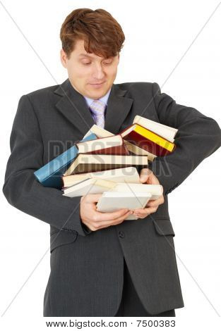 Man - Student Hold Heap Of Books And Textbooks