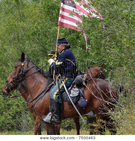 Union Army Cavalry In The Treeline