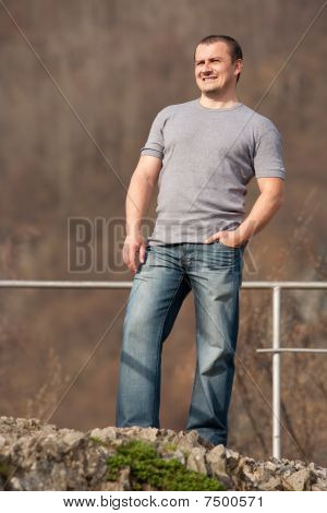 Young Man Full Body Portrait Outdoors
