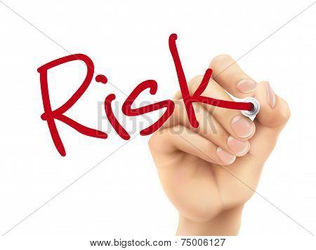 Risk Word Written By 3D Hand