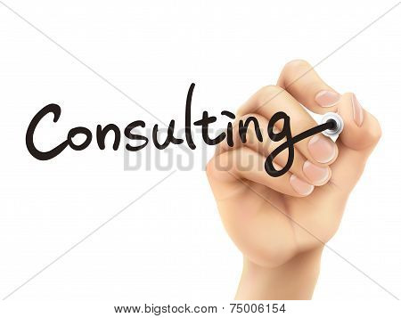 Consulting Word Written By 3D Hand