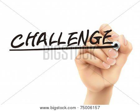 Challenge Word Written By 3D Hand