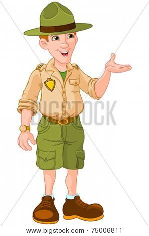 Illustration of cute park ranger in uniform
