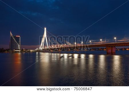 July 31, 2014: Modern cable bridge over Daugava river in Riga, Latvia