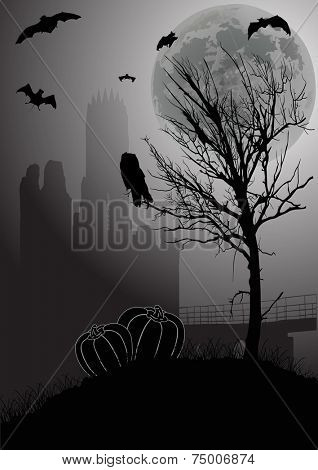 illustration with halloween landscape at full moon