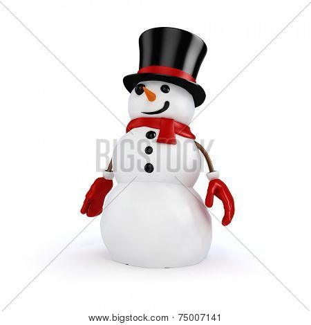3d happy snowman with black hat and red gloves; on white background