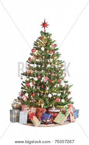 Beautiful christmas tree isolated on white background - studio shot