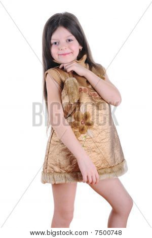 Little Girl In A Gold Dress