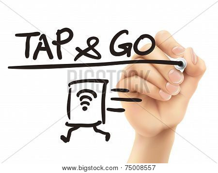 Tap And Go Words Written By 3D Hand