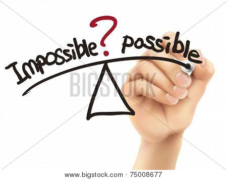 Balance Between Impossible And Possible Written By 3D Hand