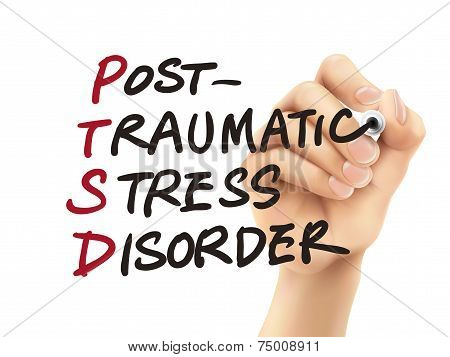 Ptsd Word Written By 3D Hand