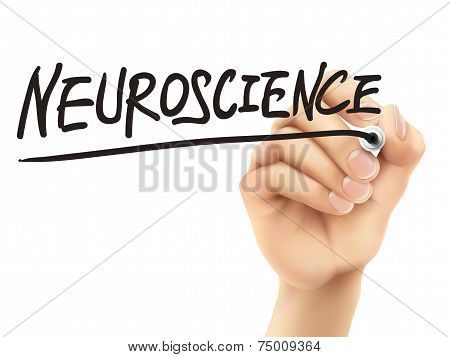 Neuroscience Word Written By 3D Hand