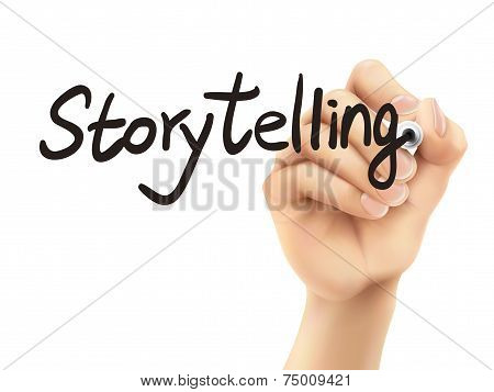 Storytelling Word Written By 3D Hand