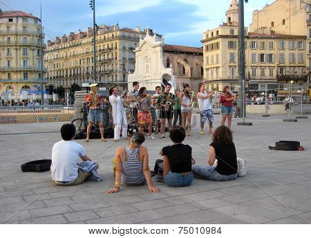 Marseille - July 2, 2014: The Musician Entertain People In The Old Port (vieux-port), On July 2, 201