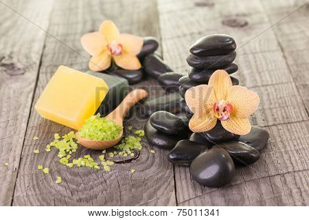 Yellow Moth Orchids And Bath Salt