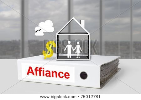 Office Binder Affiance Couple House Dollar Symbol