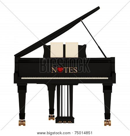 Grand Piano On White