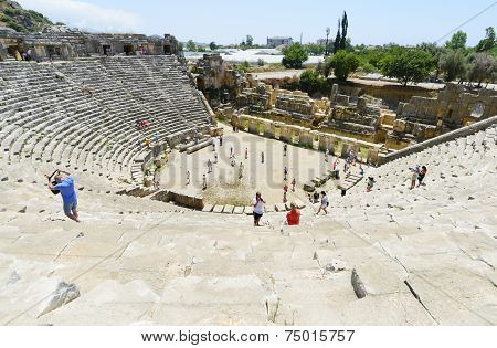 DEMRE, TURKEY - September 16,2014. The ancient Greco-Roman theater in the Lycian city of Myra, Turke