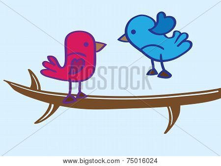 Blue Bird And Red Bird On Tree Branch Cartoon Vector
