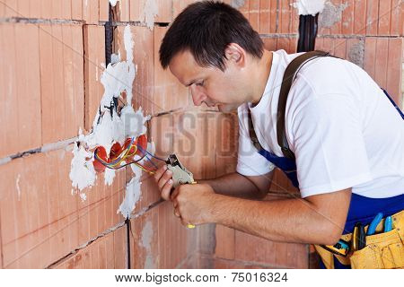 Electrician Working On Electrical Installation