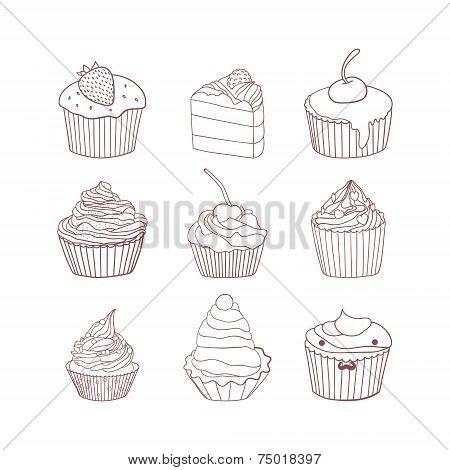 Sweet cupcakes vector set