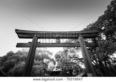 Torii Gate Standing At The Entrance To Meiji Jingu Shrine (black And White)