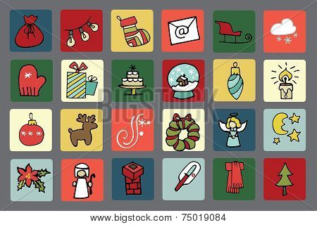 New year,Christmas icons button set