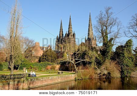 Cathedral and memorial gardens, Lichfield.