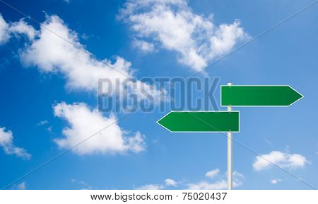 Green Sign Road 2 Way Eith Blue Sky