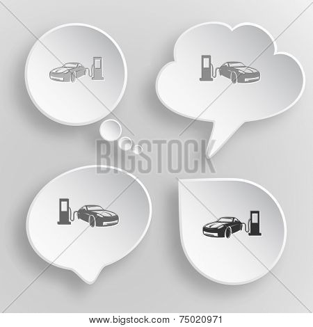 Car fueling. White flat vector buttons on gray background.