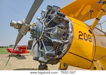 Jacobs Engine Of A Vintage Biplane Boeing Stearman Model 75