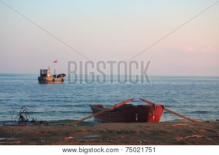 oar and launch on the lake Baikal