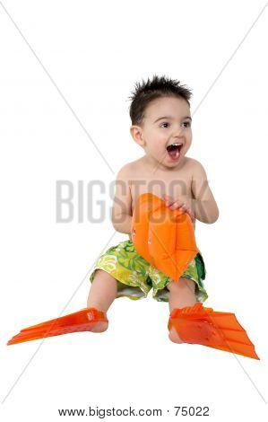 Baby Boy With Flippers And Water Wings