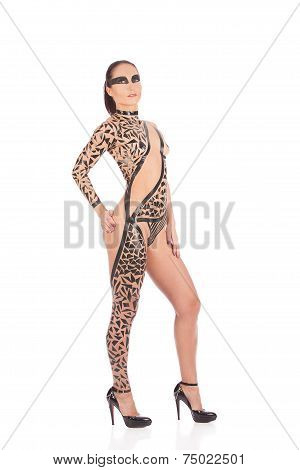 Beauty Sexy Girl In Black Tape Dress, Studio Posed