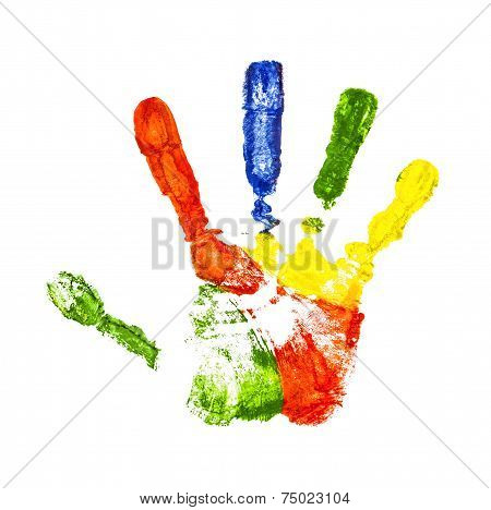 Colorful Handprint On An Isolated White Background
