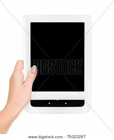 Holding E-book Reader In Hands.
