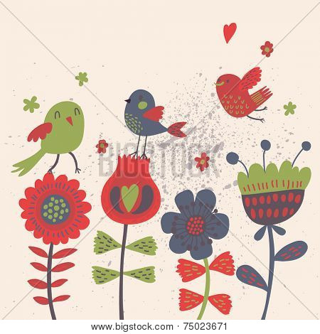 Bright cartoon birds on flowers in vector. Stylish floral card. Summer background in bright colors.