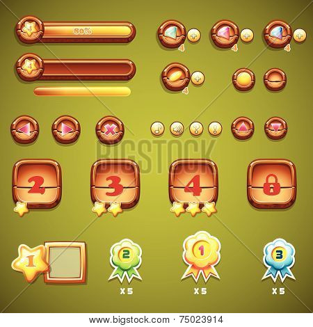 Set of wooden buttons, progress bars, and other elements for web design and user interface of comput