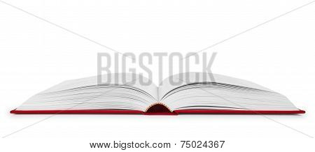 Open Book In A Red Cover On An Isolated White Background