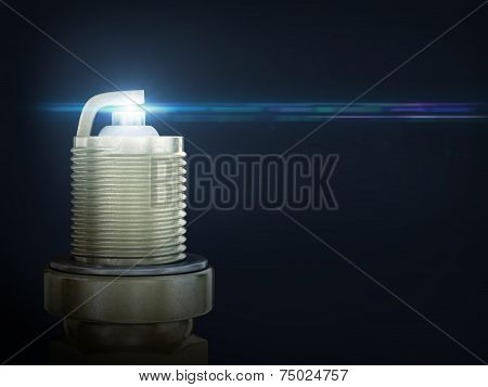 Auto service. Old rusty spark plug as spare part of car transportation