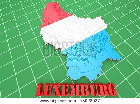 Map Illustration Of Luxembourg With Flag