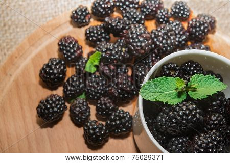 Fresh blackberries with mint