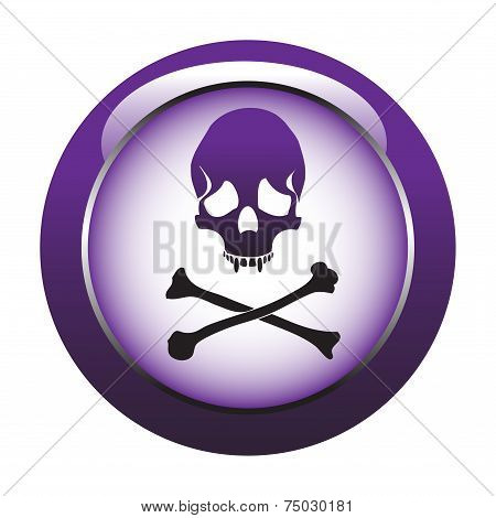 Purple button with skull symbol