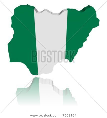 Nigeria Map Flag With Reflection