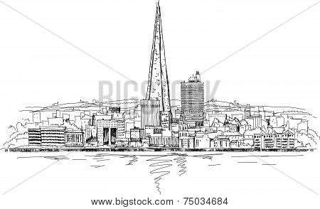 London panoramic view and Shard of glass building, Sketch collection