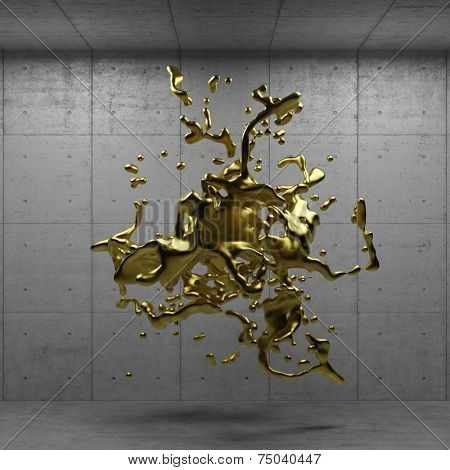 Melted liquid gold hovering in a concrete room (3D Rendering)